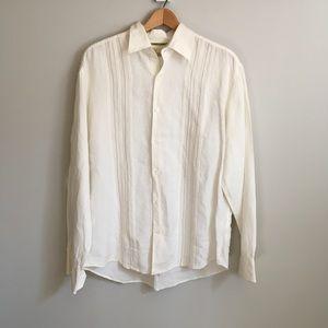 Men's Cream Long Sleeve Cubavera Linen Shirt Large